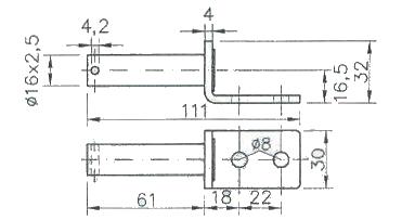 Čep pantu BSCHG 10-17-A (s dírou pro závlačku), nákres