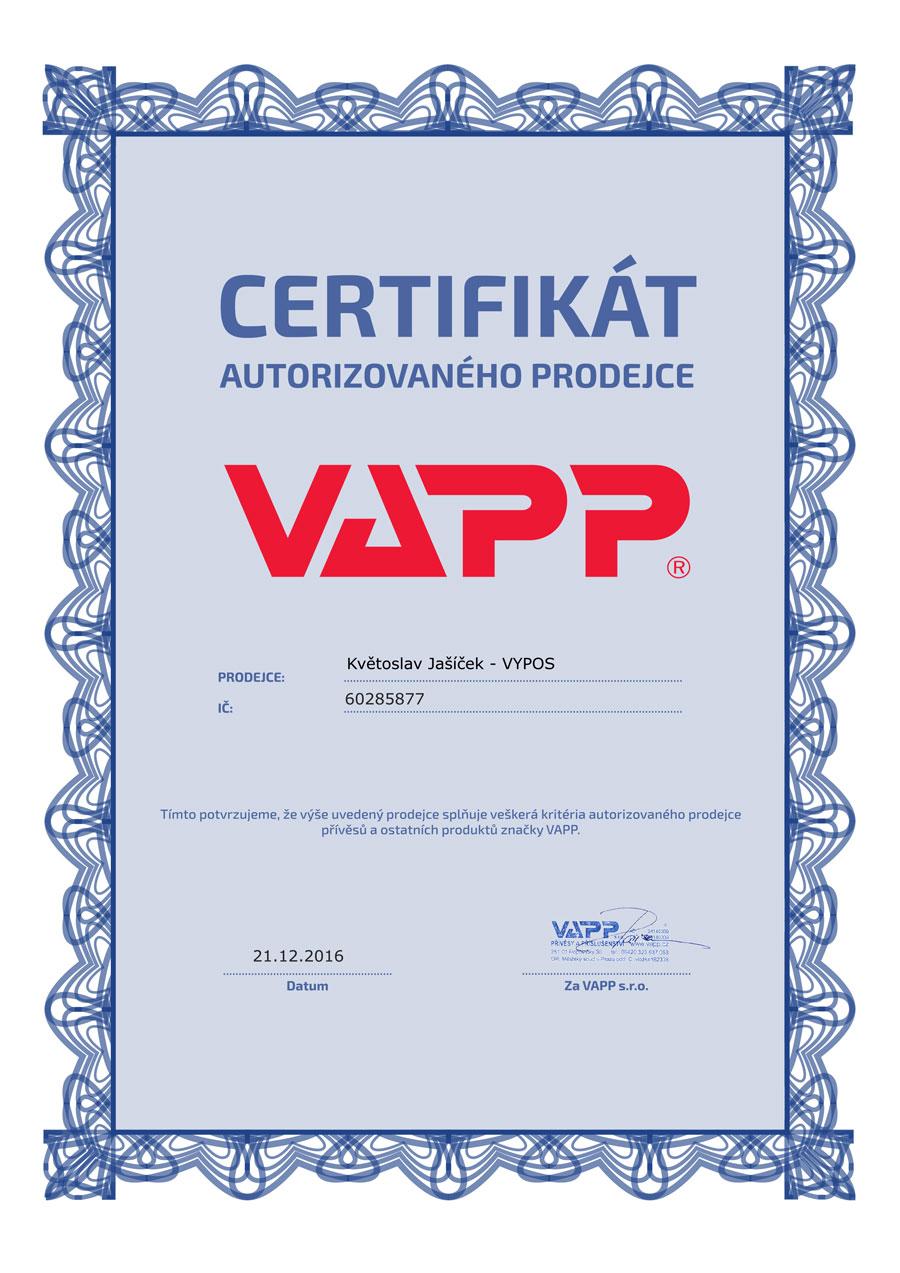 Certifikát VAPP