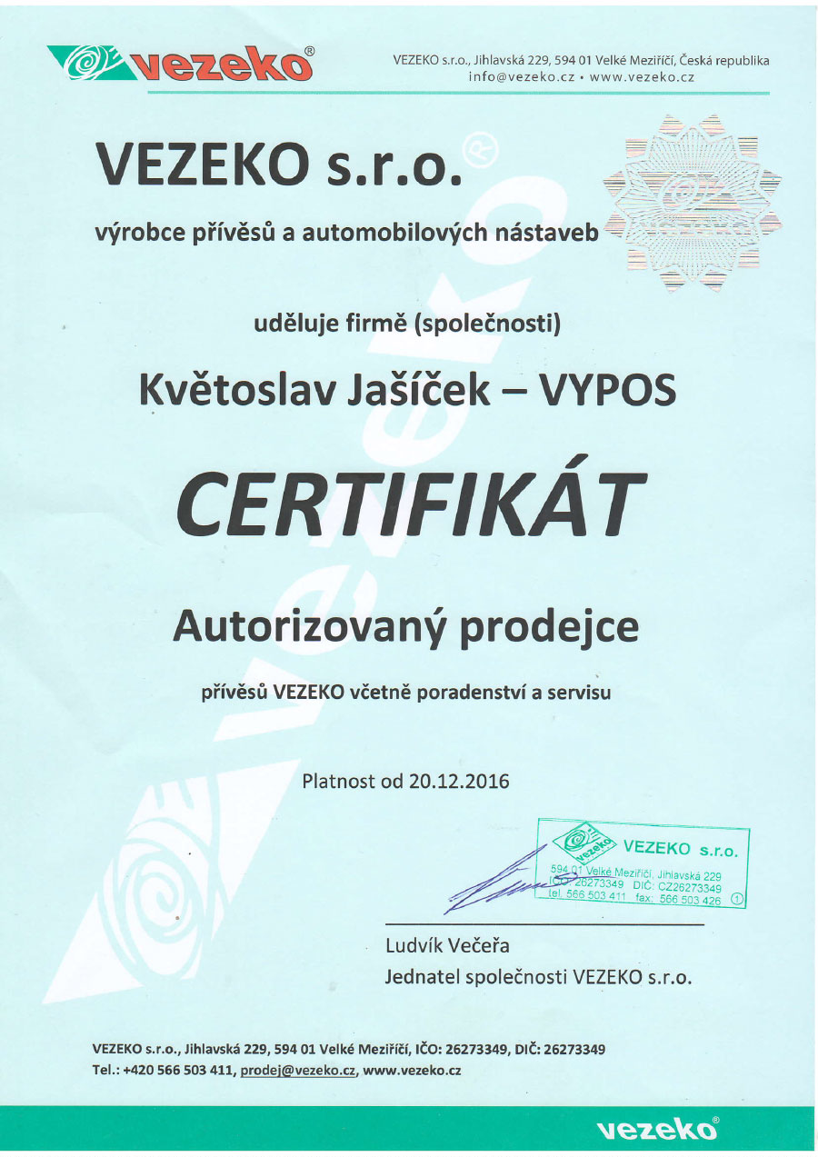 Certifikát VEZEKO