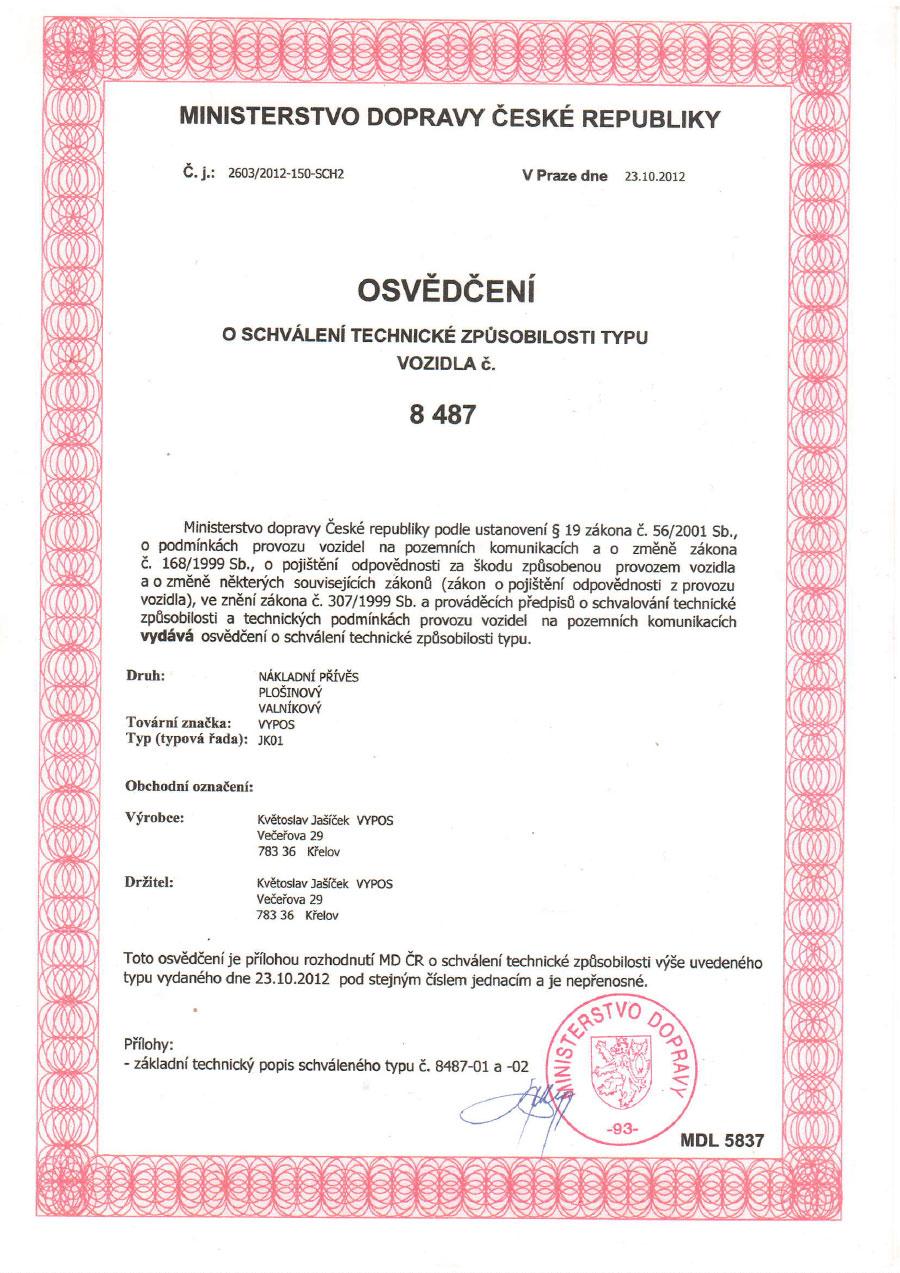 Certifikát VYPOS 8487