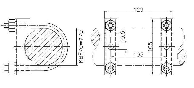 Držák KBF-70 klemy opěrného kolečka na oj pr. 70 mm-2