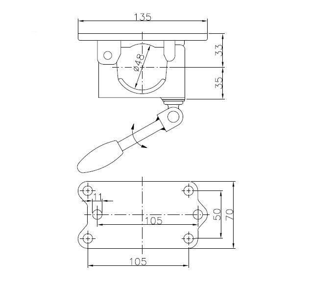 Držák podpěrného kola Winterhoff 4-děrový, litinová základna, nákres