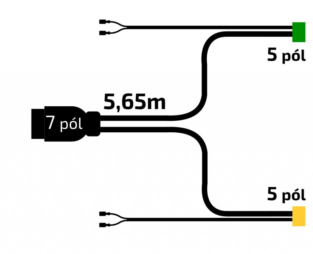 Kabeláž VAPP 5,65m -7-pól – zástrčka, s předními vývody QS75, baj5, nákres