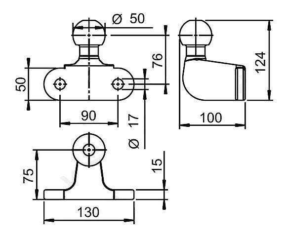 Koule ISO 50 AL-KO , pr. 50 mm, 2000 kg, příruba-2