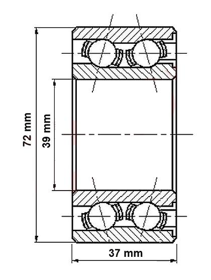 Ložisko do bubnu Al-ko 2050 EURO PLUS, pr. 39 mm- nákres