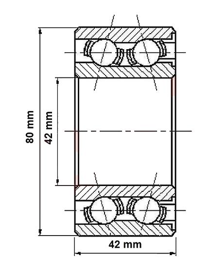 Ložisko do bubnu Al-ko 2360, pr. 42 mm- nákres