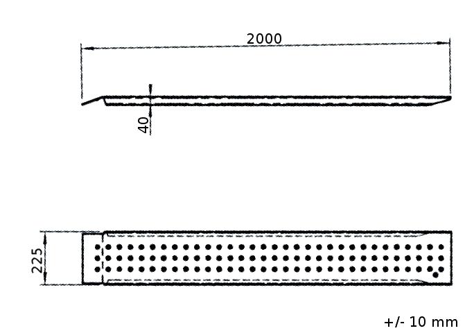 Nájezdy hliníkové Alu, Al-ko, d. 2000 mm, š. 200 mm, 400 kg, pár (2ks) -nákres