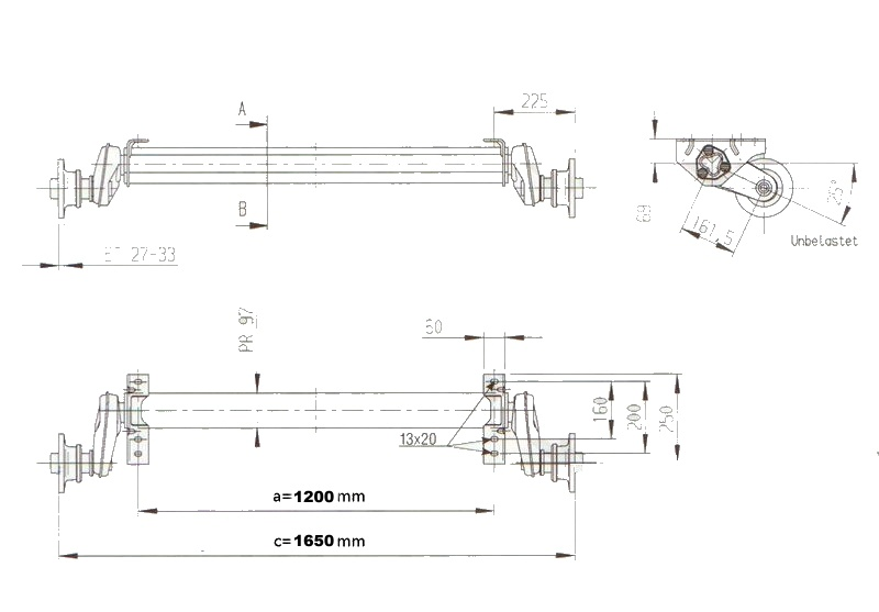 Náprava AL-KO Plus UBR 1200-5 (1300 kg) a=1200 mm, 112×5 – nákres