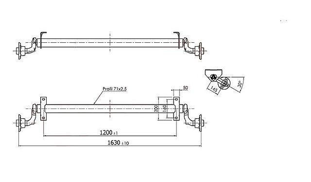 Náprava Al-ko 750 kg, šířka 1200 mm-1