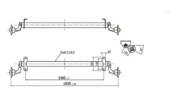 Náprava Al-ko 750 kg, šířka 1400 mm-1