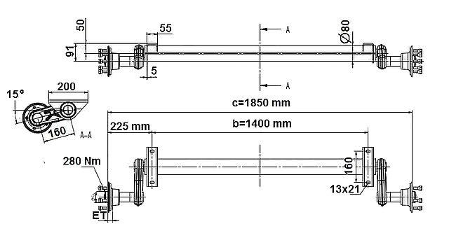 Náprava KNOTT G13 1300kg, šířka 1400-2