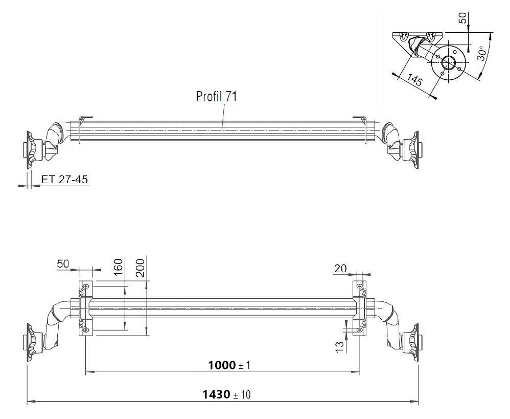Náprava Al-ko 750 kg, a=1000 – nákres