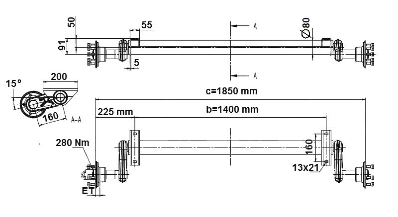 Náprava KNOTT G 13 (1300 kg) b=1400 mm, 100×4, nízké patky, nákres