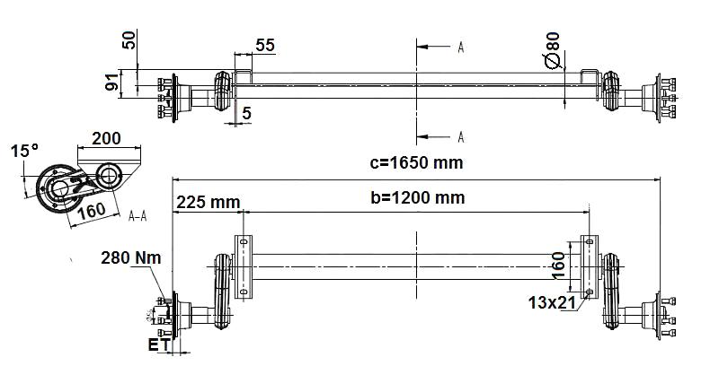 Náprava KNOTT G 13 (1350 kg) b=1200 mm, 100×4, nízké patky, nákres