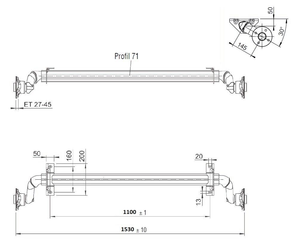 Náprava nebržděná Al-ko, OPTIMA, 750 kg, 100×4, a=1100 mm, nákres