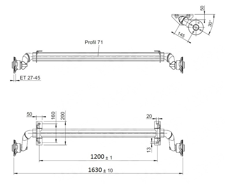 Náprava nebržděná Al-ko, OPTIMA, 750 kg, 100×4, a=1200 mm, nákres