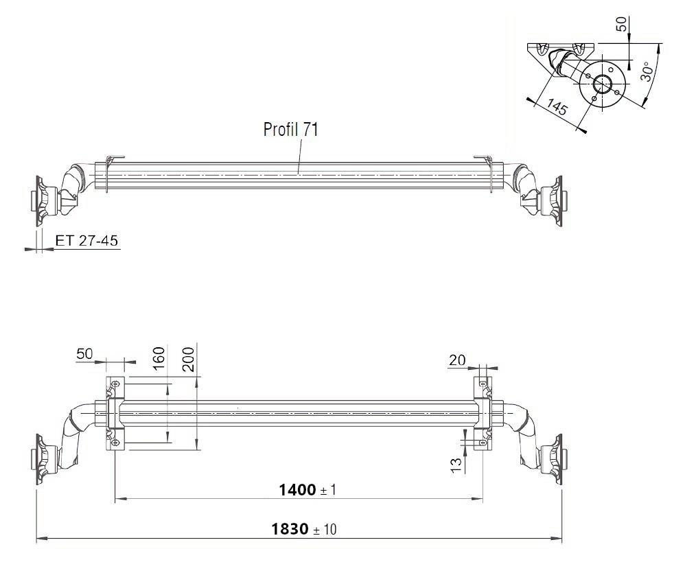 Náprava nebržděná Al-ko, OPTIMA, 750 kg, 100×4, a=1400 mm, nákres
