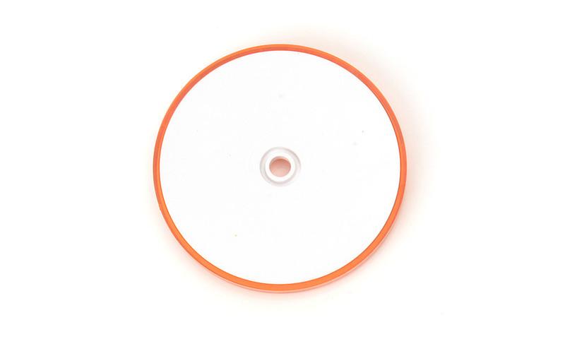 Odrazka oranžová, kulatá s dírou, pr. 61 mm, zezadu