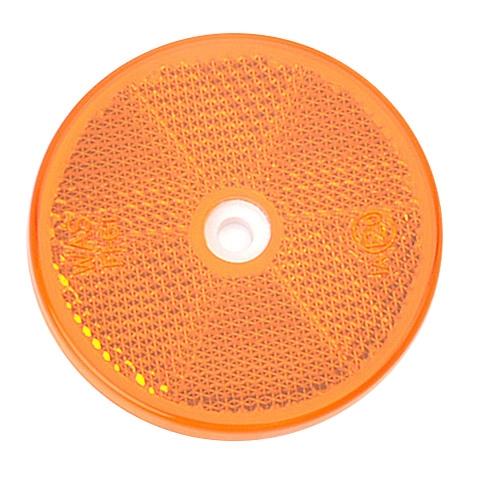Odrazka oranžová, kulatá s dírou, pr. 61 mm