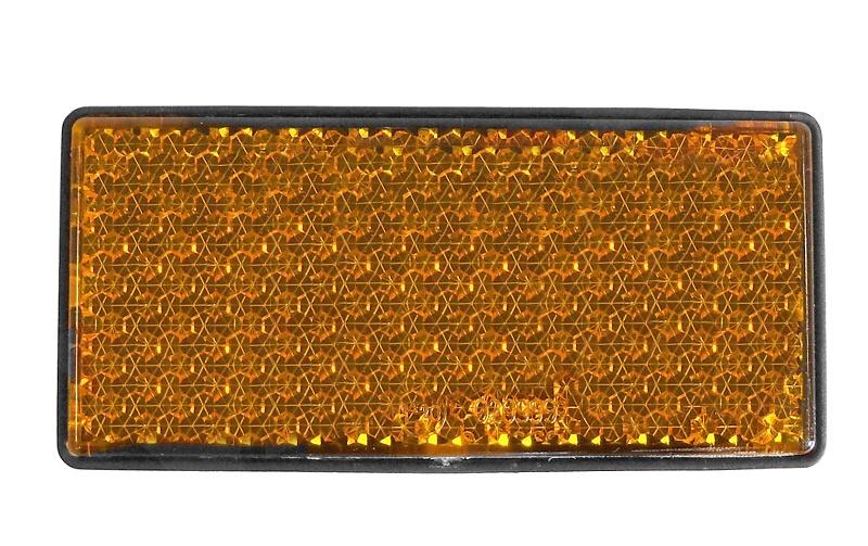 Odrazka oranžová, samolepící, obdélníková, 108×51 mm