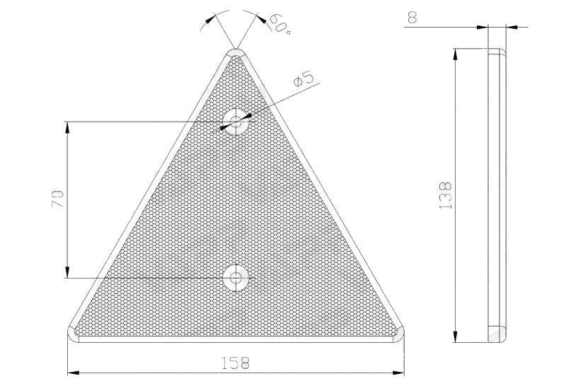 Odrazka trojúhelníková, s otvory, 158×138 mm, nákres