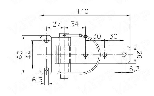 Pant bočnic BSCH 30-2 s pružinovou pojistkou, nákres