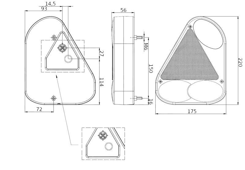 Světlo koncové Fristom FT-77 (boční s trojúhelníkem), LEVÉ, rozměry 2