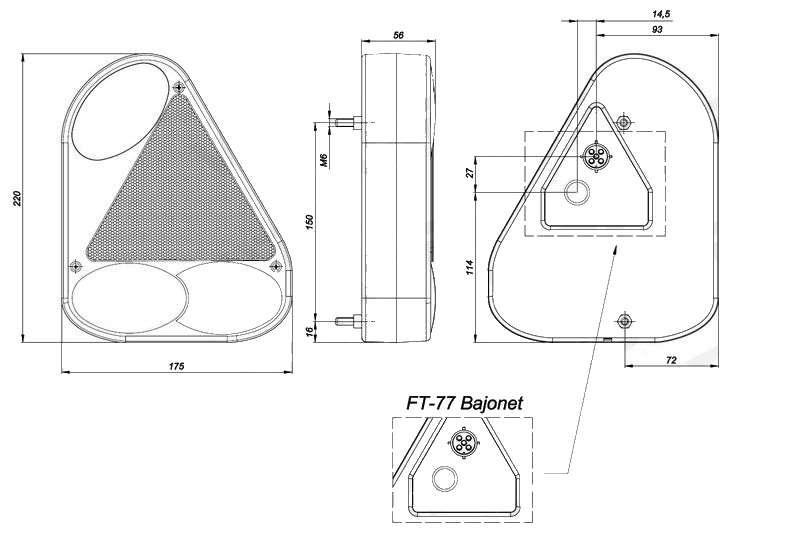 Světlo koncové Fristom FT-77 (boční s trojúhelníkem), PRAVÉ, rozměry