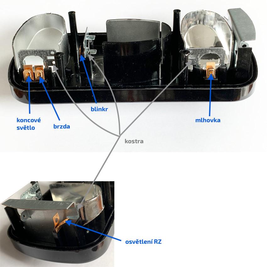 Světlo koncové Fristom MD-36, L-P (bez žárovek), průchodka, uvnitř