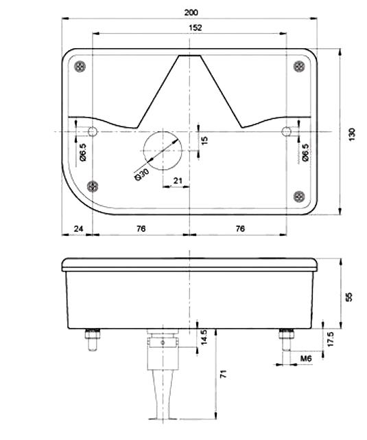 Světlo koncové Jokon 10.2110, LEVÉ, typ 830 (zaoblený roh), L, nákres