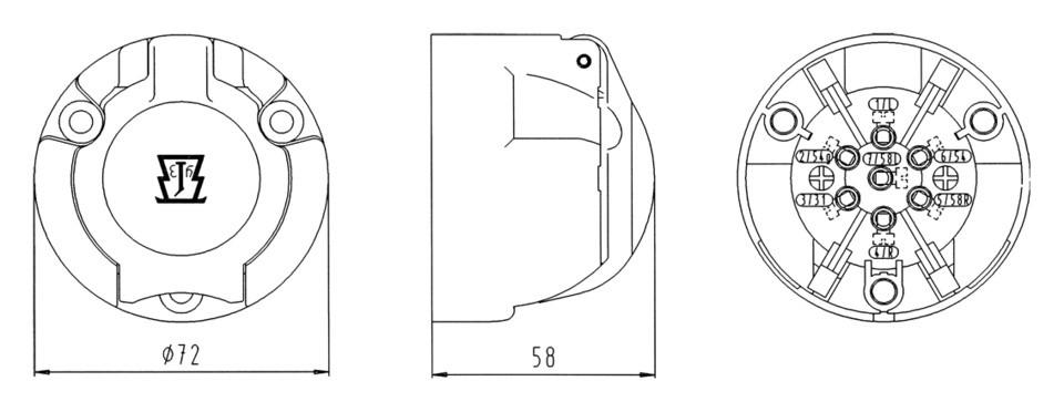 Zásuvka 12V, 7-pol., plastová, JOKON, nákres