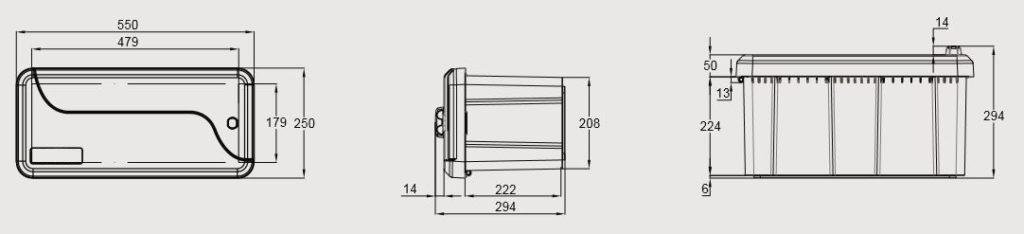 Box na nářadí BLACKIT II, 550x250x294 mm, nákres