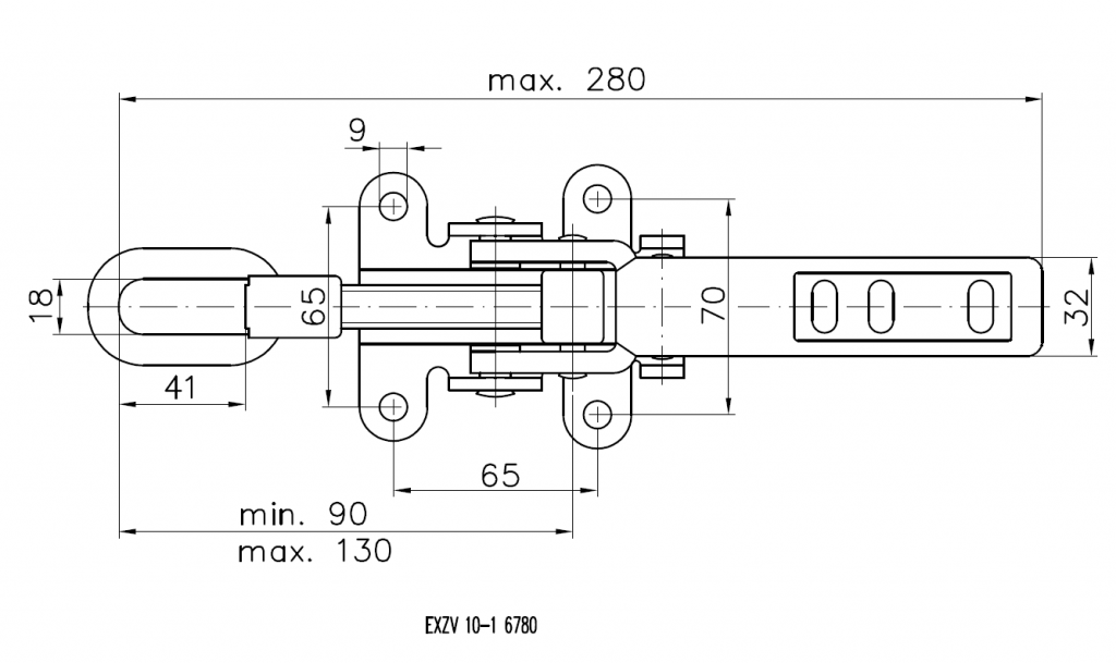 Přezka litinová EXZV 10-1 se stavitelným třmenem (bez protikusu), nákres