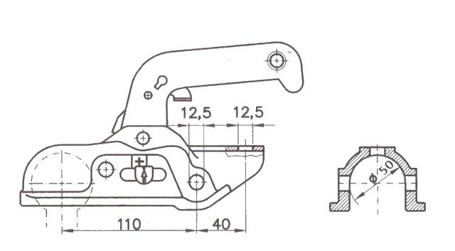 Kloub přípojný EM 300 R-B pr. 50 mm, vrt. 12,5 mm, 3000 kg, nákres
