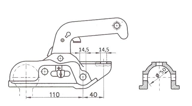 Kloub přípojný EM 300 R-B pr. 50 mm, vrt. 14,5 mm, 3000 kg, nákres