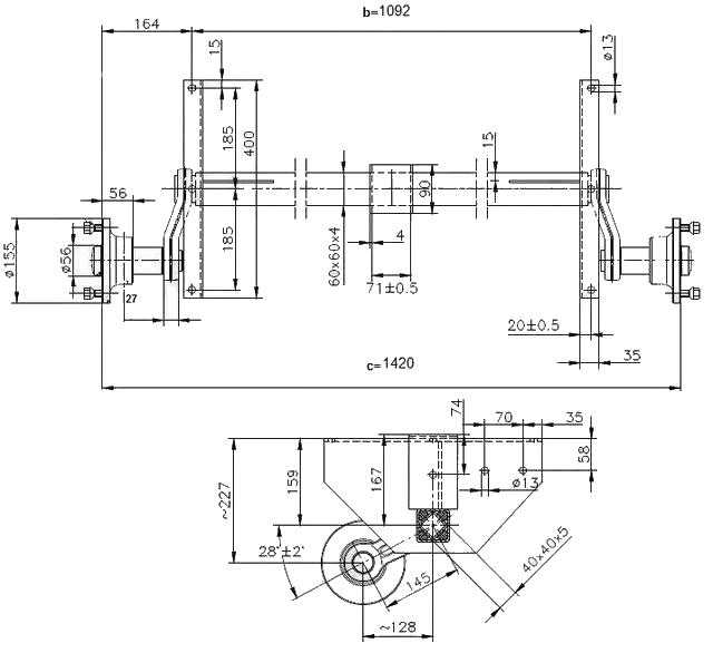 Náprava KNOTT VG 7-L (750 kg) b=1092 mm, 100×4, vysoké patky (NP-DV) – nákres