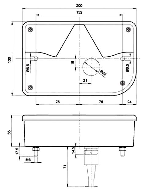 Světlo koncové Jokon 10.2110, PRAVÉ, typ 830 (zaoblený roh), P, nákres