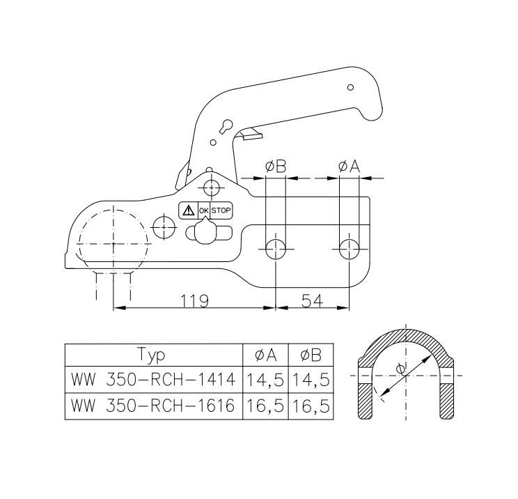Kloub přípojný Knott, EM 350 R-CH prům. 60 mm, 3500 kg, vrtání 14,5 mm, nákres