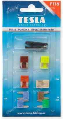 Pojistky nožové MINI, ploché, s vidličkou 12ks TESLA