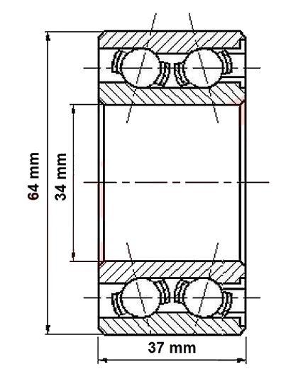 Ložisko do bubnu Al-ko 2050, pr. 34 mm- nákres