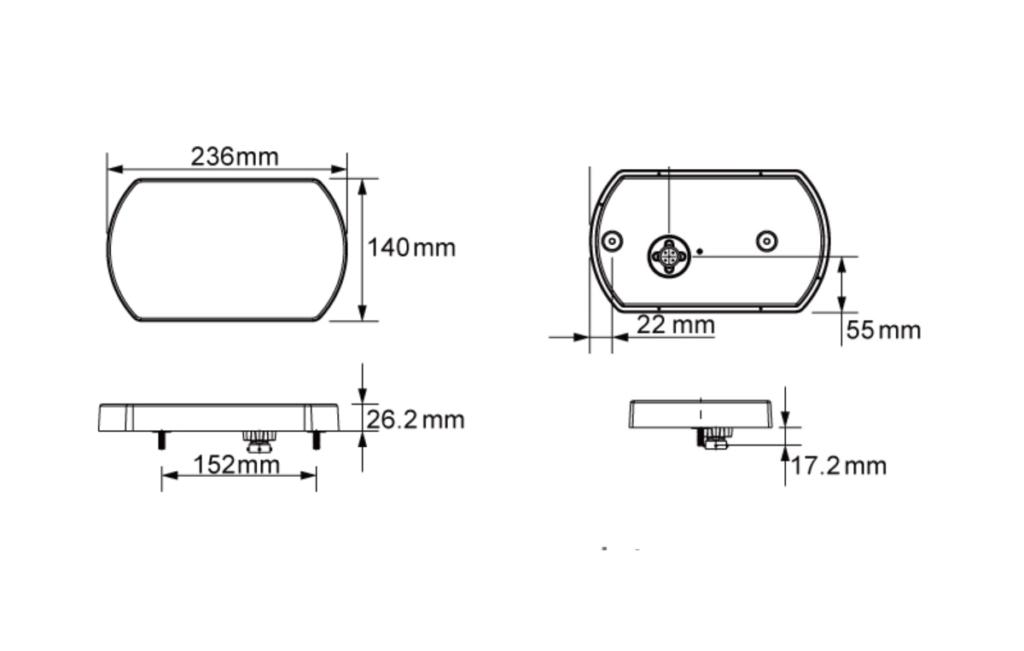 Svítilna Lucidity 26076 sdružená LED 12V, L-BL-BR-KO-ML-baj5, rozměry