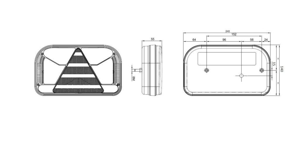 Světlo koncové Fristom FT-170 sdružená LED 12-24V, LEVÉ, kabel 1m, nákres