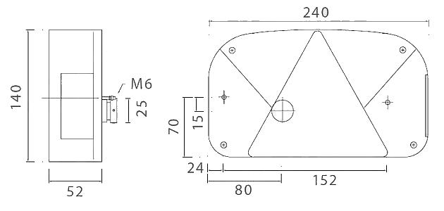 Světlo koncové Multipoint II, LEVÉ, nákres