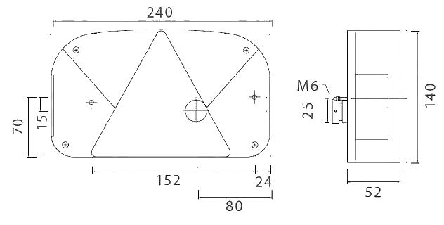 Světlo koncové Multipoint II, PRAVÉ, nákres