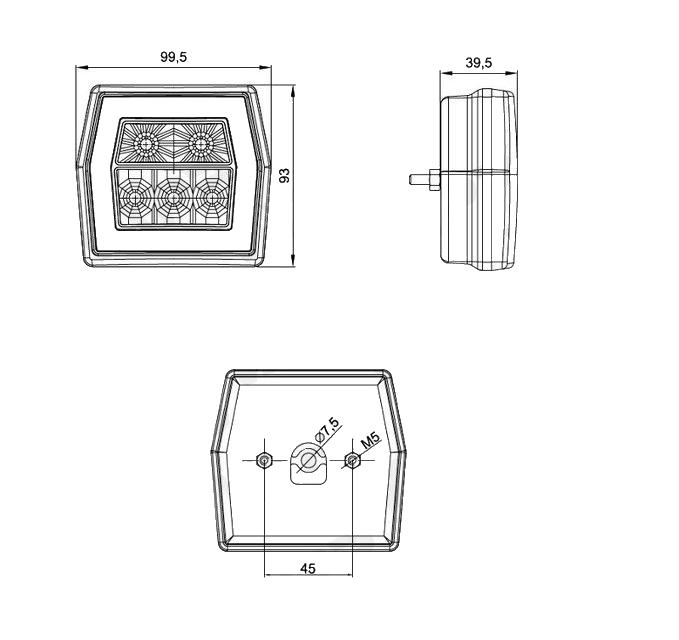 Svítilna Fristom FT-121 sdružená LED 12-24V, L-P-BL-BR-KO, nákres