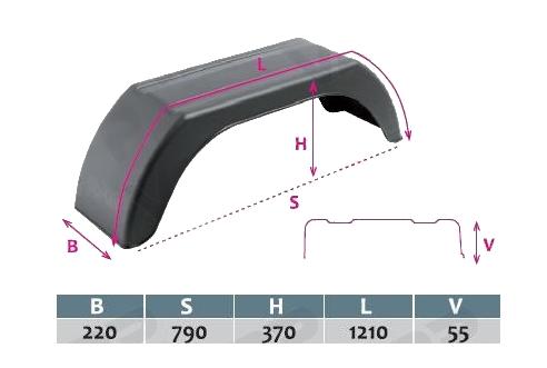 Blatník plastový DOMAR, š. 220 mm, černý, lomený – ROZMĚRY