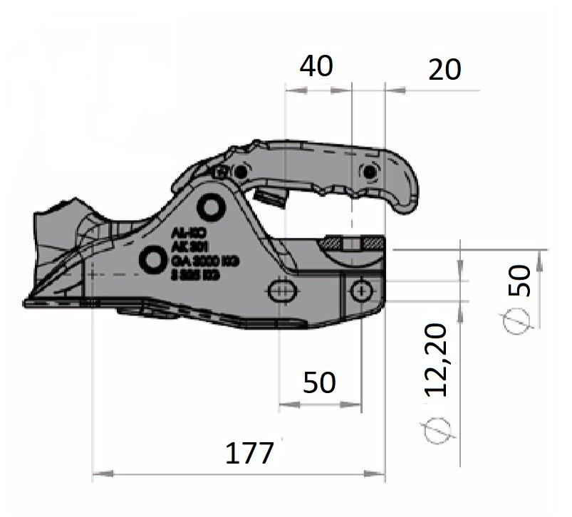 Kloub přípojný Al-ko, AK 301 pr. 50 mm, 3000 kg, (bez zámku, bez šroubů, bez Softdocku), nákres