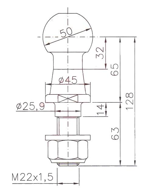 Koule ISO 50, 3500 kg, se závitem – nákres