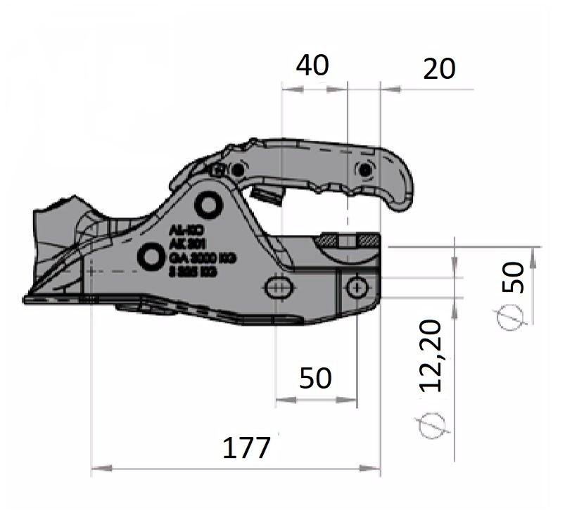 Přípojný kloub Al-ko AK 301- nákres
