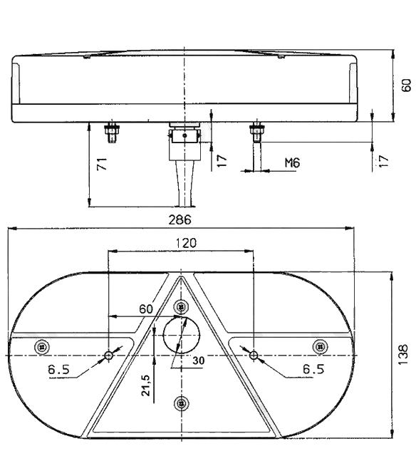 Světlo koncové Jokon 610 sdružená (LEVÉ) – nákres